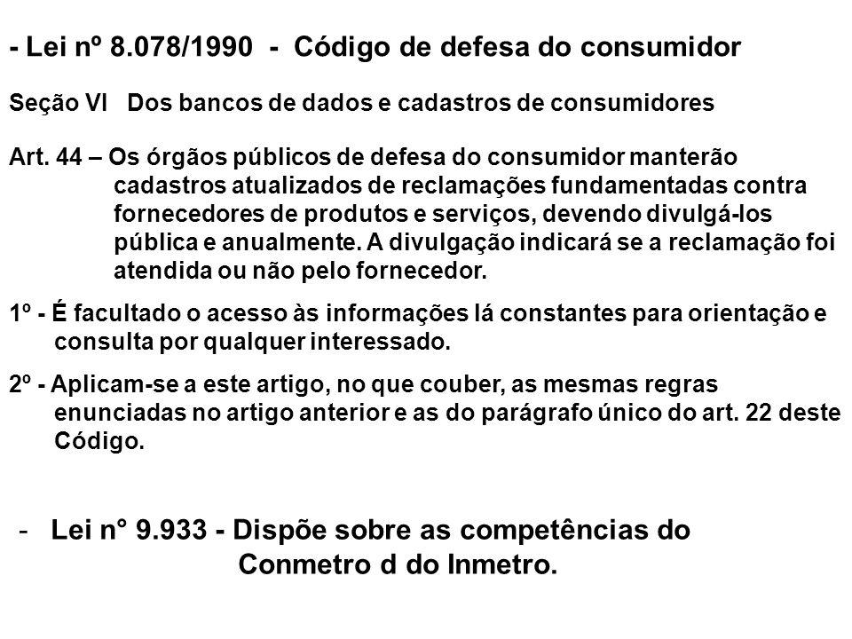 - Lei nº 8.078/1990 - Código de defesa do consumidor