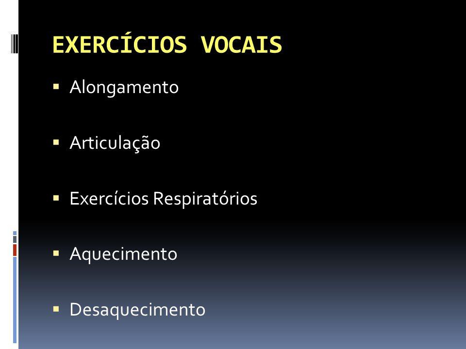EXERCÍCIOS VOCAIS Alongamento Articulação Exercícios Respiratórios
