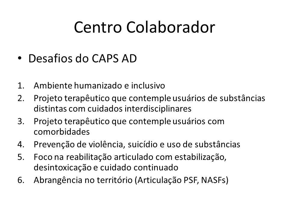 Centro Colaborador Desafios do CAPS AD Ambiente humanizado e inclusivo