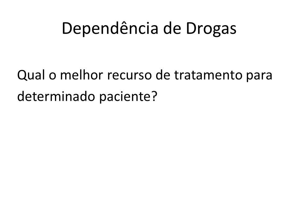 Dependência de Drogas Qual o melhor recurso de tratamento para determinado paciente