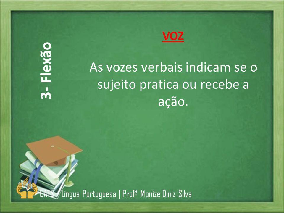 As vozes verbais indicam se o sujeito pratica ou recebe a ação.