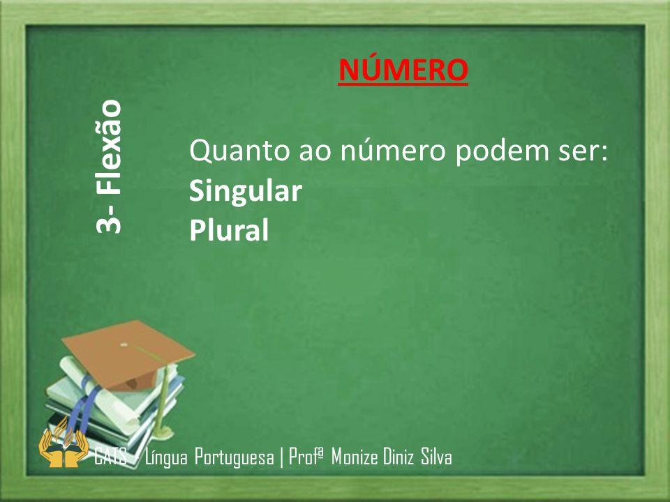 3- Flexão NÚMERO Quanto ao número podem ser: Singular Plural
