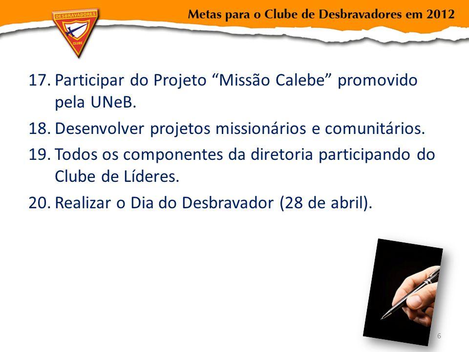 Participar do Projeto Missão Calebe promovido pela UNeB.