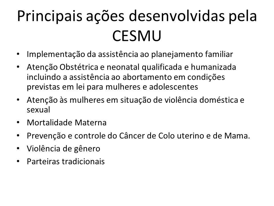 Principais ações desenvolvidas pela CESMU