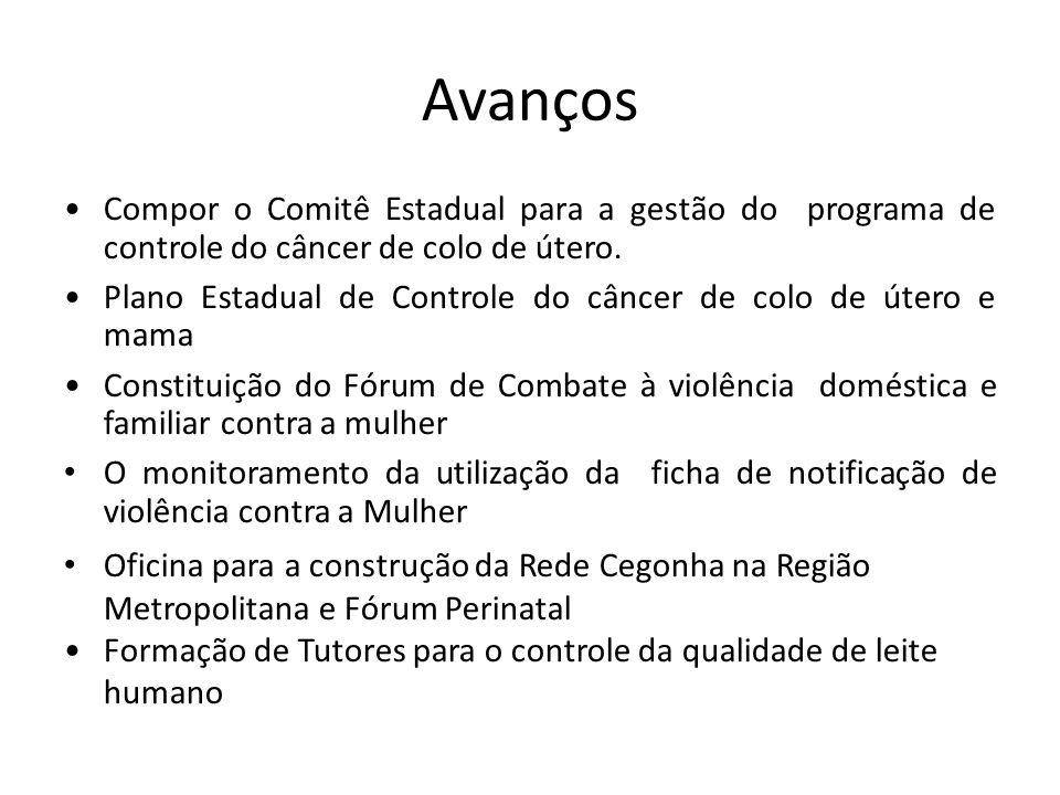 Avanços Compor o Comitê Estadual para a gestão do programa de controle do câncer de colo de útero.