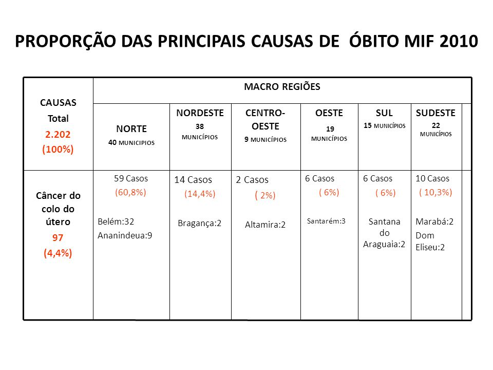 PROPORÇÃO DAS PRINCIPAIS CAUSAS DE ÓBITO MIF 2010