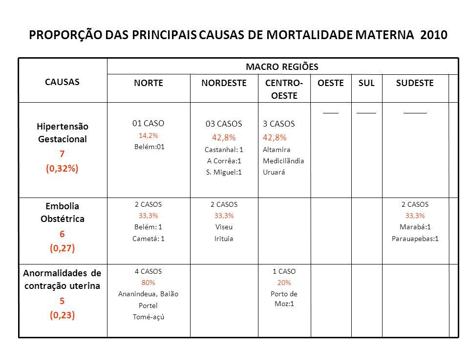 PROPORÇÃO DAS PRINCIPAIS CAUSAS DE MORTALIDADE MATERNA 2010