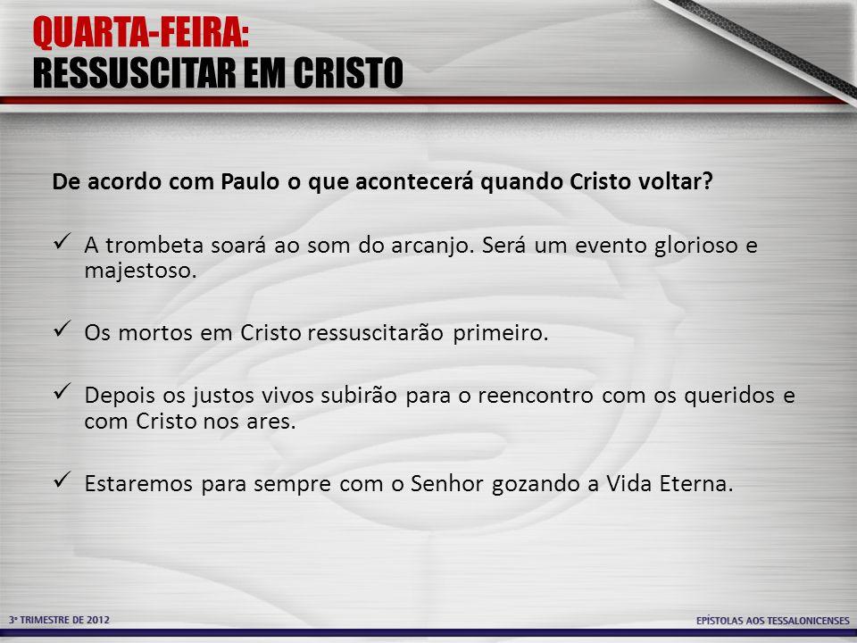 QUARTA-FEIRA: RESSUSCITAR EM CRISTO
