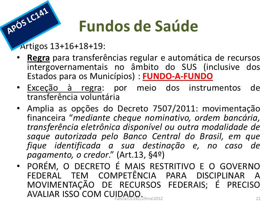 Fundos de Saúde Artigos 13+16+18+19: