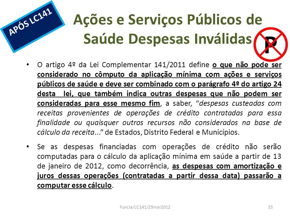 Ações e Serviços Públicos de Saúde Despesas Inválidas