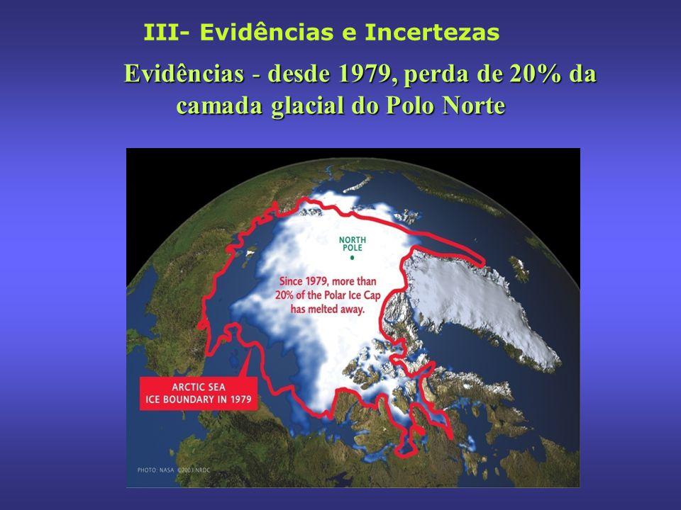 Evidências - desde 1979, perda de 20% da camada glacial do Polo Norte
