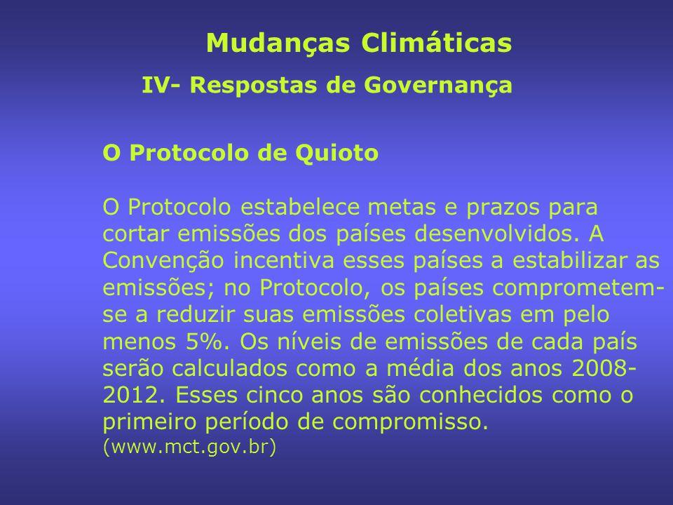 Mudanças Climáticas IV- Respostas de Governança