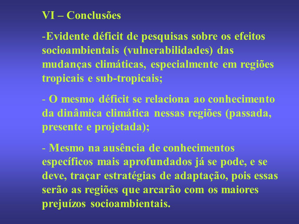 VI – Conclusões