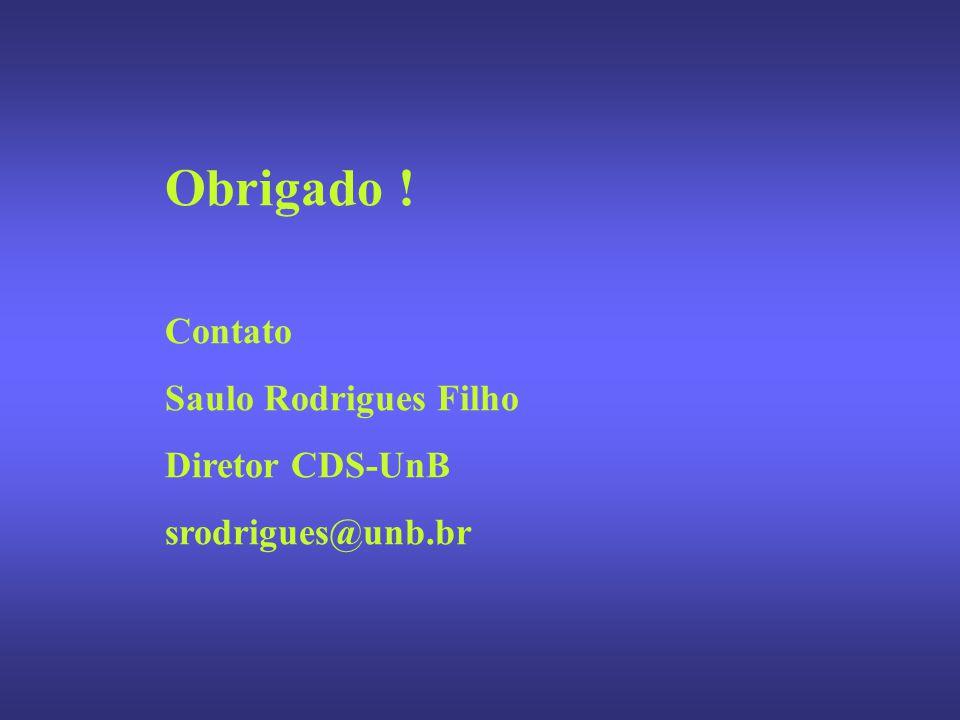 Obrigado ! Contato Saulo Rodrigues Filho Diretor CDS-UnB