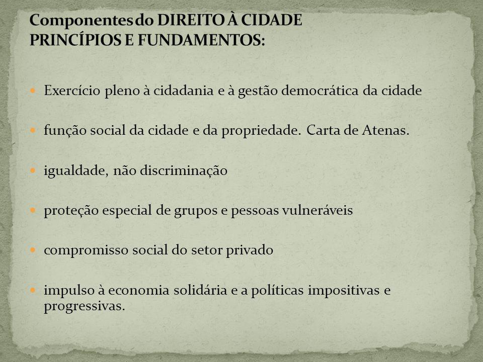 Componentes do DIREITO À CIDADE PRINCÍPIOS E FUNDAMENTOS: