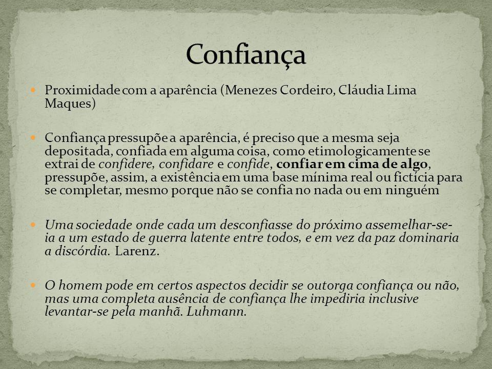 Confiança Proximidade com a aparência (Menezes Cordeiro, Cláudia Lima Maques)