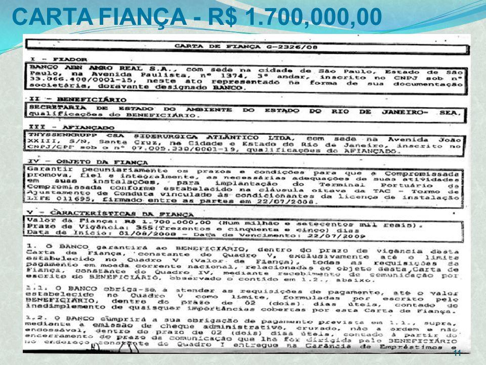 CARTA FIANÇA - R$ 1.700,000,00