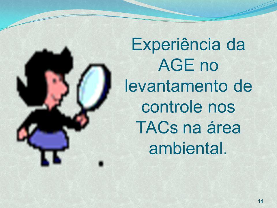 Experiência da AGE no levantamento de controle nos TACs na área ambiental.