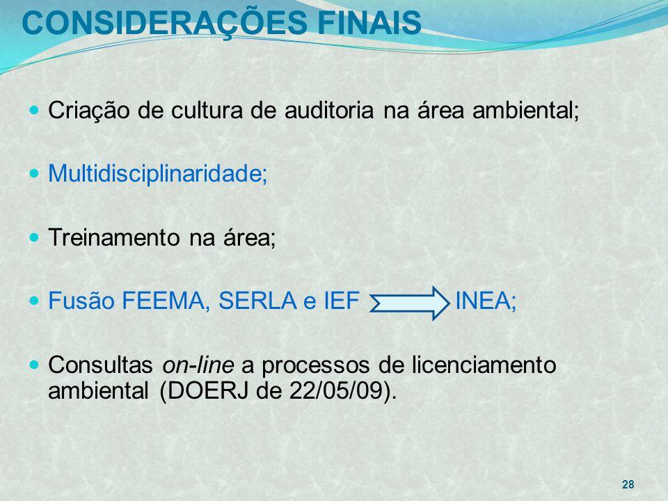 CONSIDERAÇÕES FINAIS Criação de cultura de auditoria na área ambiental; Multidisciplinaridade; Treinamento na área;