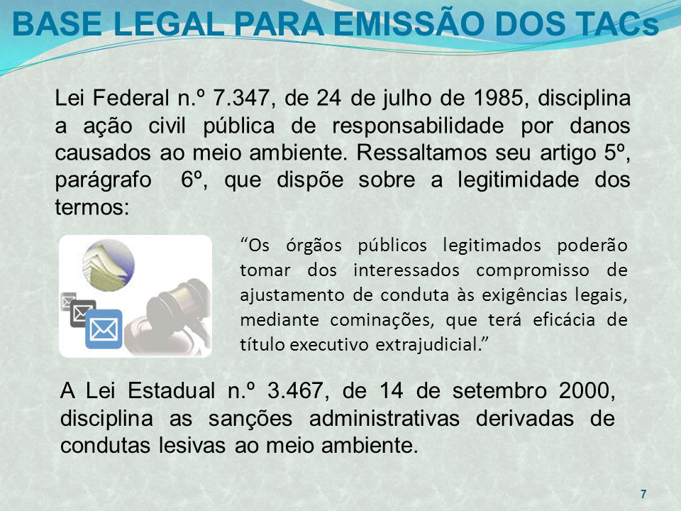 BASE LEGAL PARA EMISSÃO DOS TACs