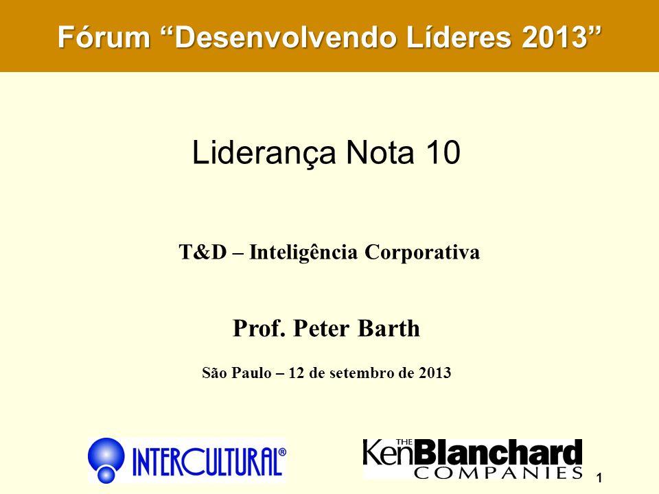 Liderança Nota 10 Fórum Desenvolvendo Líderes 2013 Prof. Peter Barth
