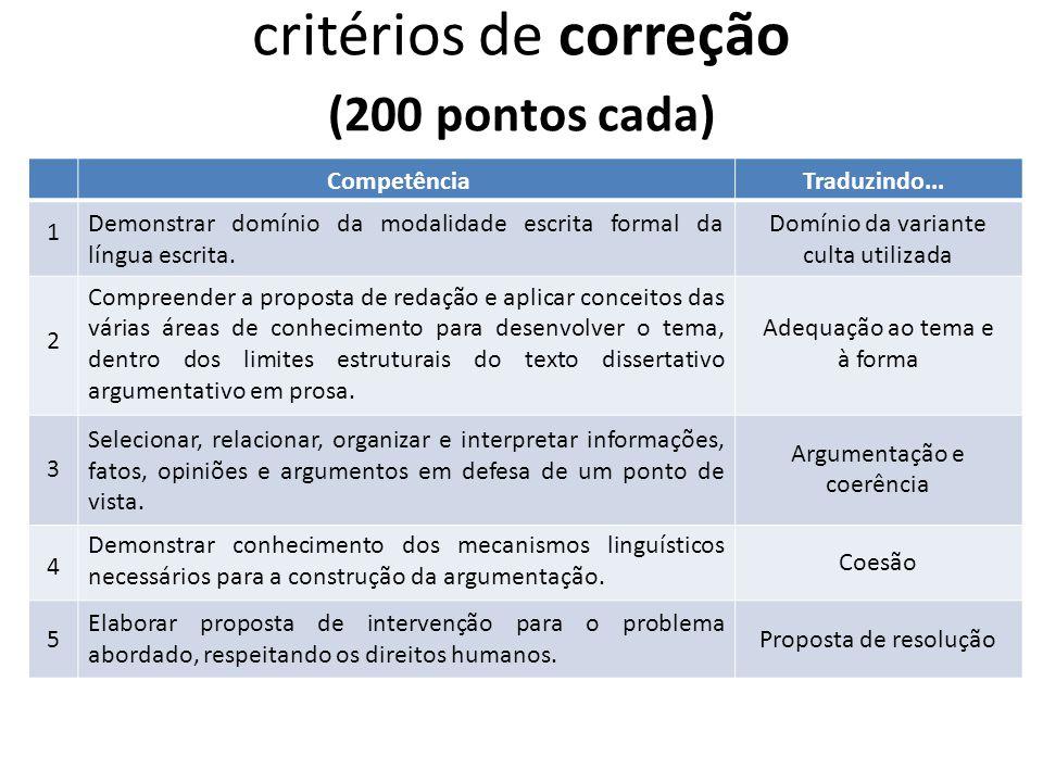 critérios de correção (200 pontos cada)