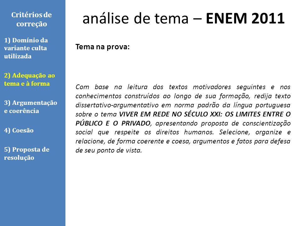 análise de tema – ENEM 2011 Tema na prova: Critérios de correção