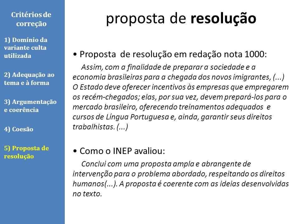 proposta de resolução • Proposta de resolução em redação nota 1000:
