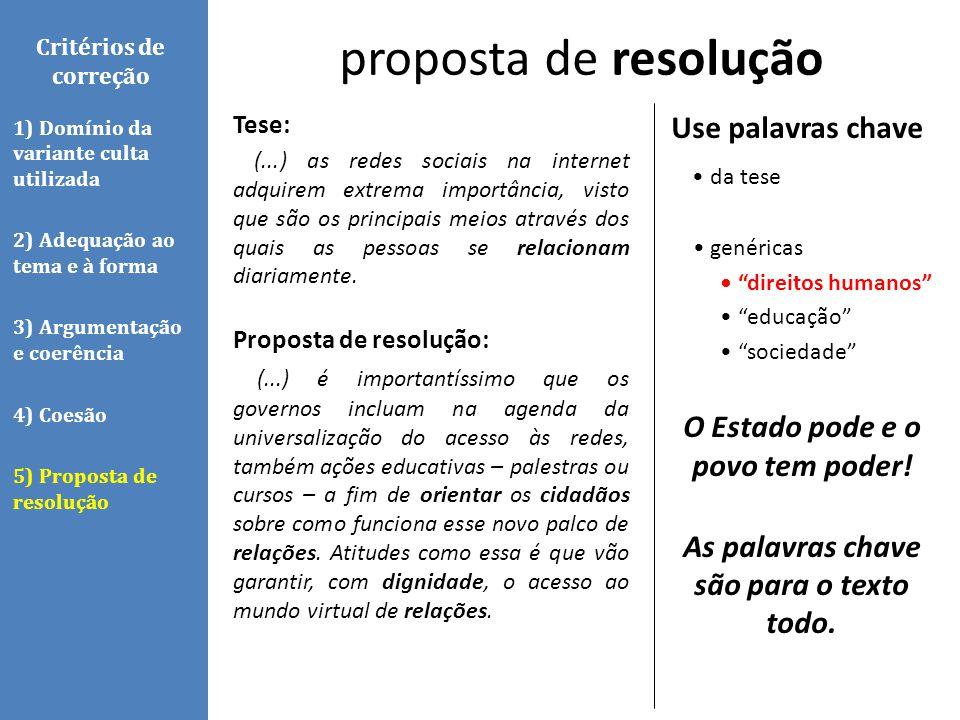 proposta de resolução Use palavras chave • da tese