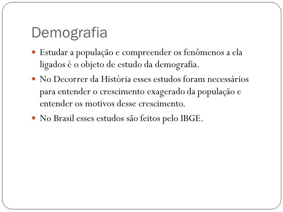 Demografia Estudar a população e compreender os fenômenos a ela ligados é o objeto de estudo da demografia.