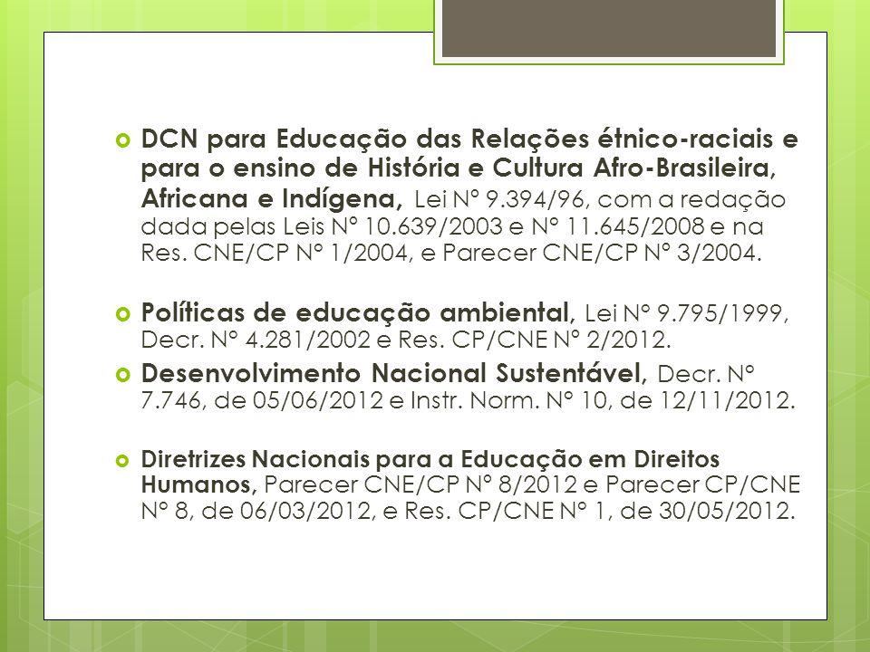 DCN para Educação das Relações étnico-raciais e para o ensino de História e Cultura Afro-Brasileira, Africana e Indígena, Lei Nº 9.394/96, com a redação dada pelas Leis Nº 10.639/2003 e N° 11.645/2008 e na Res. CNE/CP N° 1/2004, e Parecer CNE/CP Nº 3/2004.