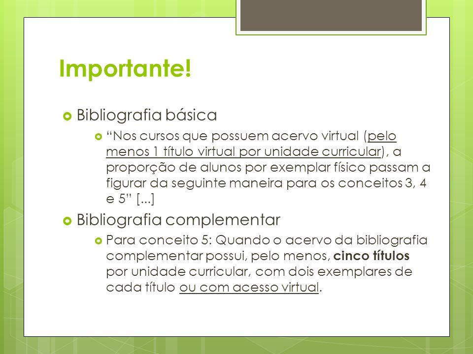 Importante! Bibliografia básica Bibliografia complementar