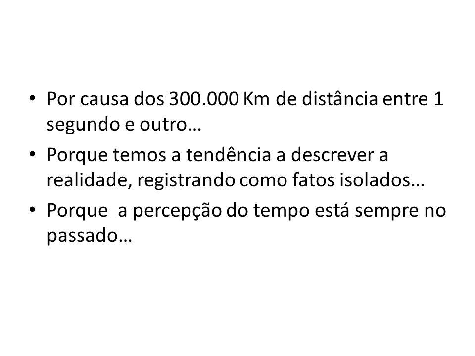 Por causa dos 300.000 Km de distância entre 1 segundo e outro…