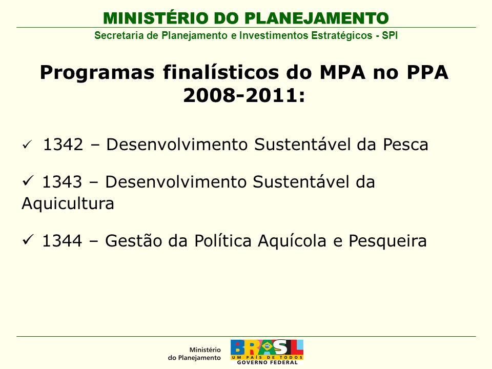 Programas finalísticos do MPA no PPA 2008-2011: