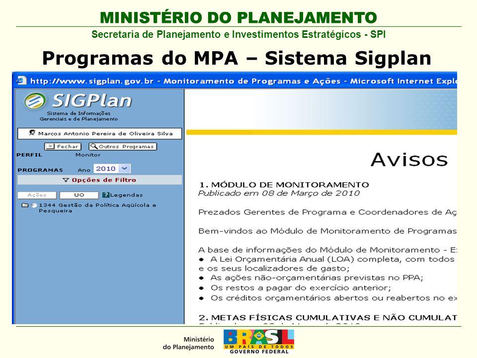 Programas do MPA – Sistema Sigplan