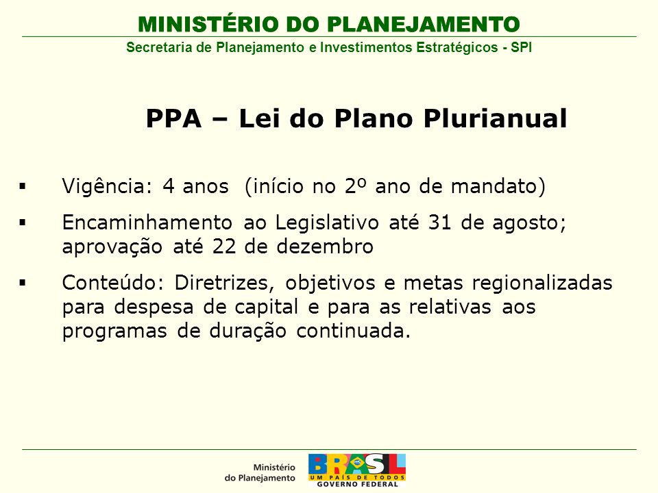 PPA – Lei do Plano Plurianual