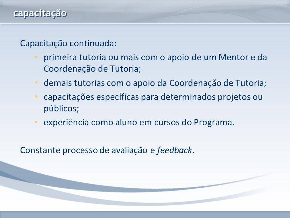 capacitação Capacitação continuada: primeira tutoria ou mais com o apoio de um Mentor e da Coordenação de Tutoria;