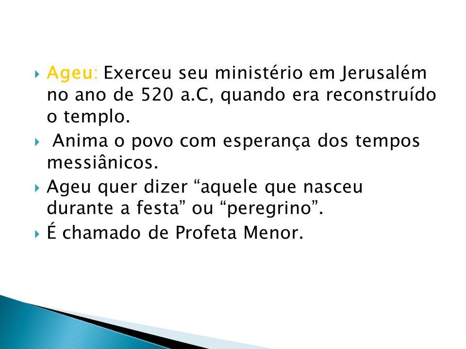 Ageu: Exerceu seu ministério em Jerusalém no ano de 520 a