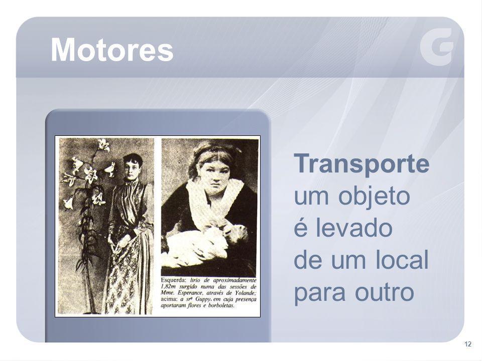 Motores Transporte um objeto é levado de um local para outro . 12