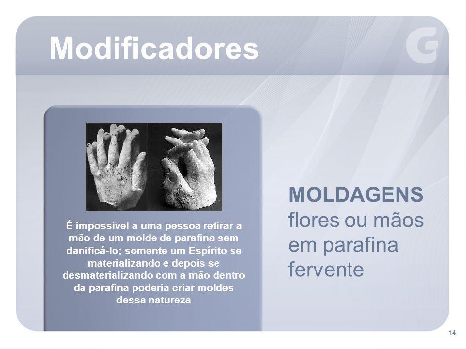 Modificadores MOLDAGENS flores ou mãos em parafina fervente