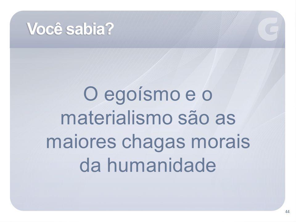 O egoísmo e o materialismo são as maiores chagas morais