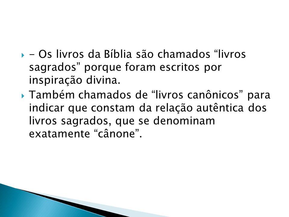 - Os livros da Bíblia são chamados livros sagrados porque foram escritos por inspiração divina.