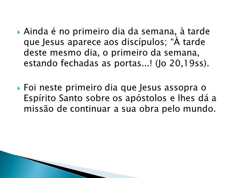 Ainda é no primeiro dia da semana, à tarde que Jesus aparece aos discípulos; À tarde deste mesmo dia, o primeiro da semana, estando fechadas as portas...! (Jo 20,19ss).