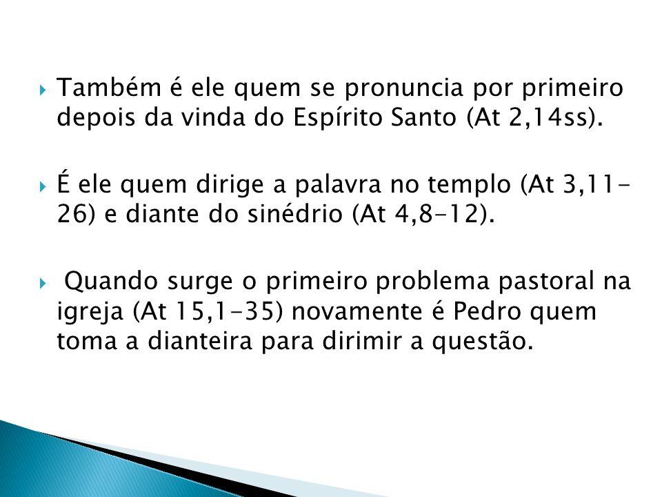 Também é ele quem se pronuncia por primeiro depois da vinda do Espírito Santo (At 2,14ss).