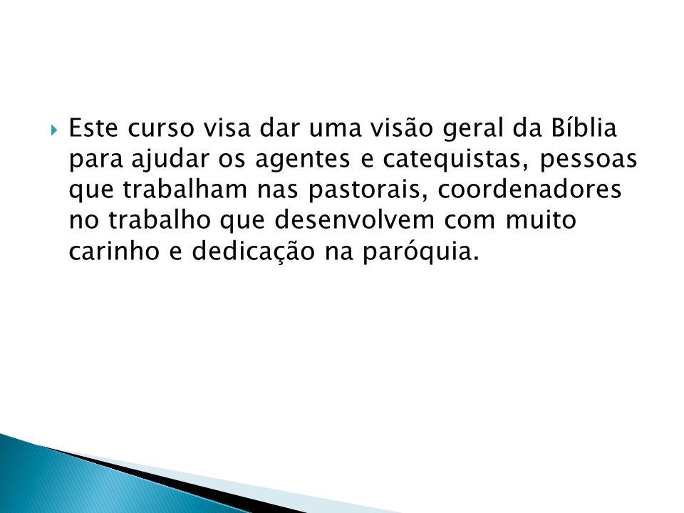 Este curso visa dar uma visão geral da Bíblia para ajudar os agentes e catequistas, pessoas que trabalham nas pastorais, coordenadores no trabalho que desenvolvem com muito carinho e dedicação na paróquia.