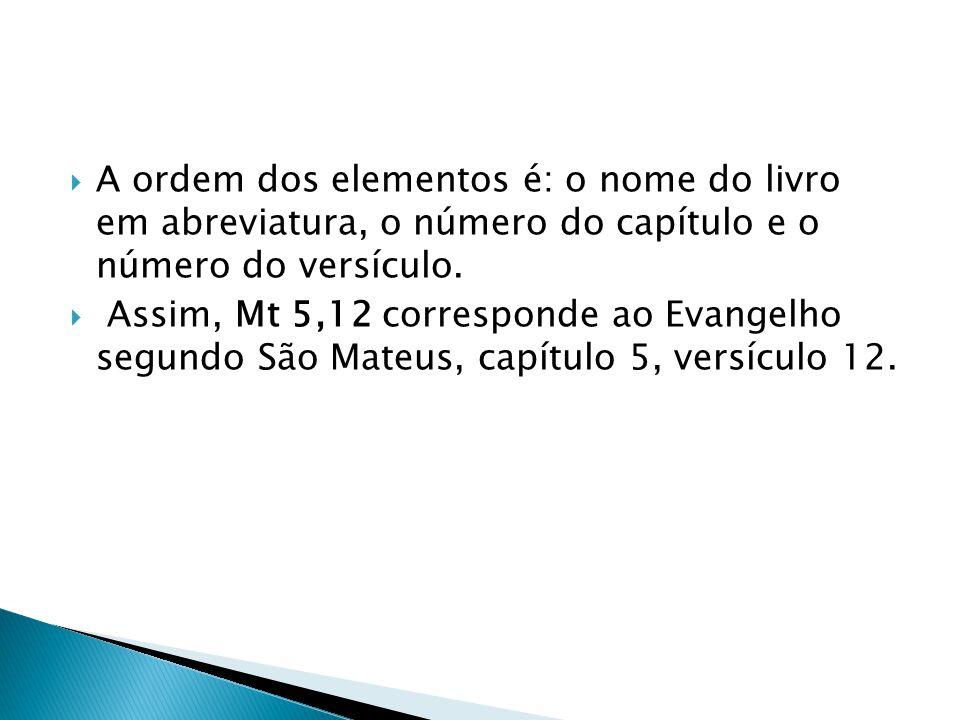 A ordem dos elementos é: o nome do livro em abreviatura, o número do capítulo e o número do versículo.