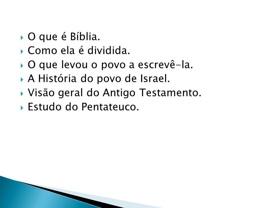 O que é Bíblia. Como ela é dividida. O que levou o povo a escrevê-la. A História do povo de Israel.
