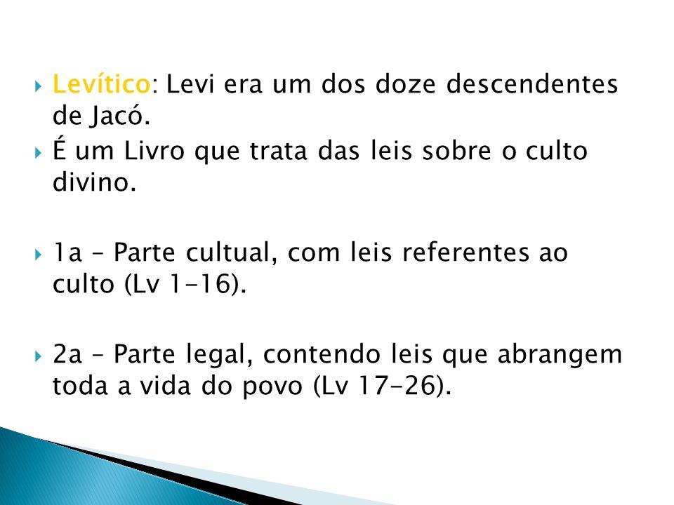 Levítico: Levi era um dos doze descendentes de Jacó.