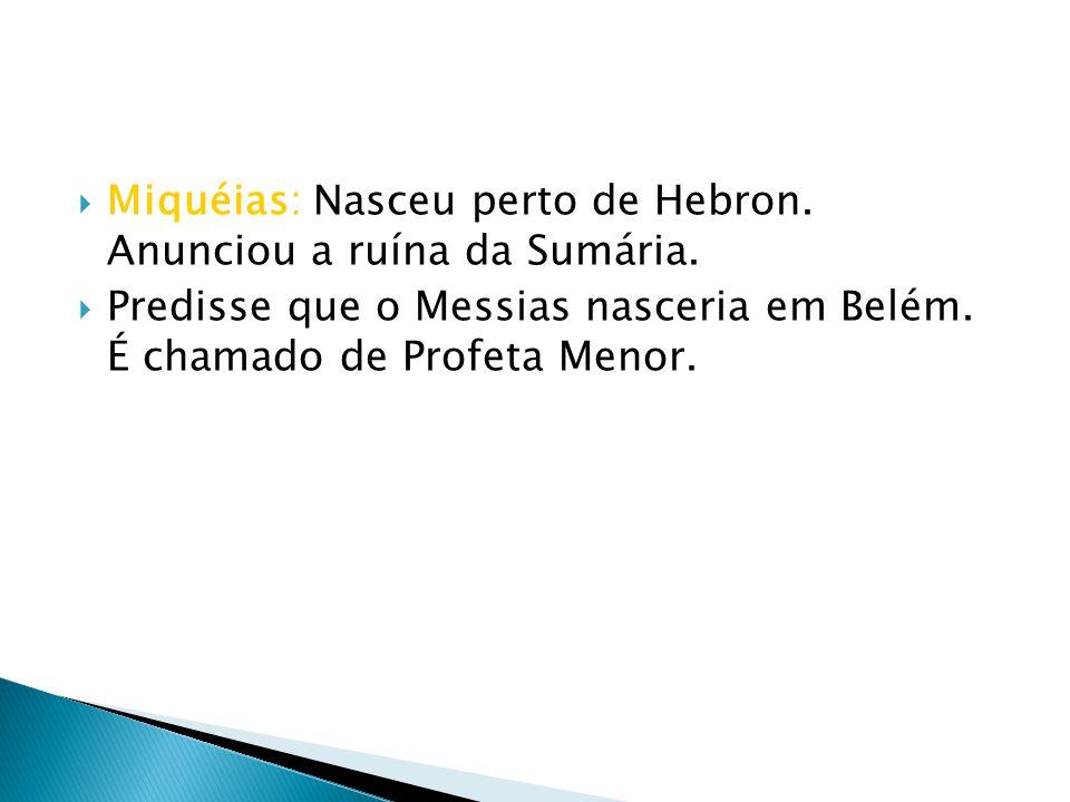 Miquéias: Nasceu perto de Hebron. Anunciou a ruína da Sumária.