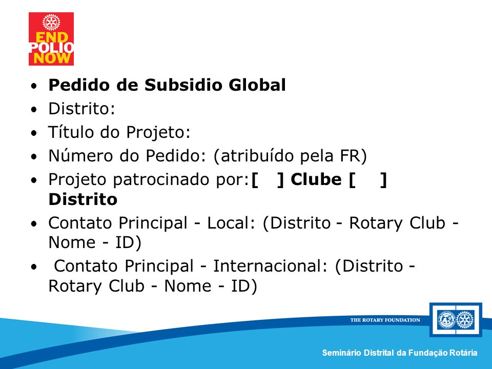 Pedido de Subsidio Global